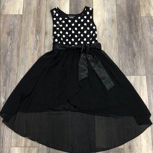 Hi-Low black & white polka dot girls dress- size 8